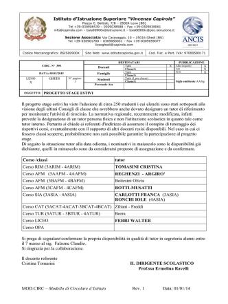 """circ390-2014-2015 - Istituto di Istruzione Superiore """"V.Capirola"""""""