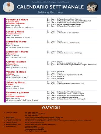 Calendario settimanale - Parrocchia San Michele Arcangelo