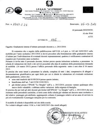 avviso n. 156 graduatorie interne di istituto a.s. 2015.16