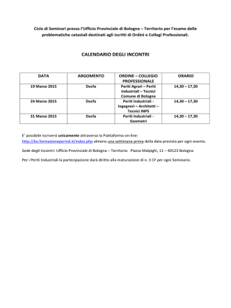 calendario degli incontri - Collegio dei Periti Industriali della