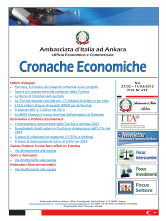 Cronache Economiche N.6 - Ambasciata d`Italia in Turchia