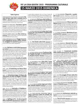 15 MARZO 2015 DOMENICA - Fa` la cosa giusta!
