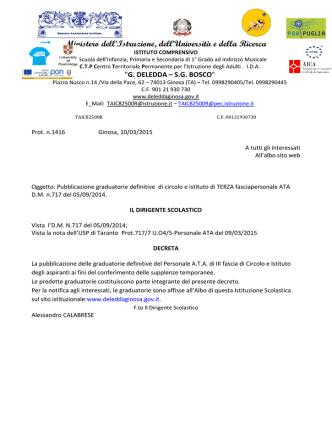 Decreto di pubblicazione graduatoria definitiva personale ATA 3
