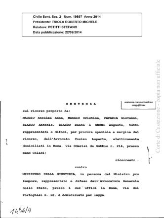 Cass. Civ., II, 22.09.2014, n. 19897