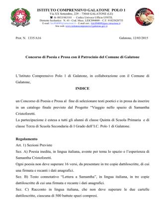 Bando concorso Cristoforetti - Istituto Comprensivo POLO I
