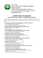 A. I. S. Re. Italian Association of Regional Studies Call for papers