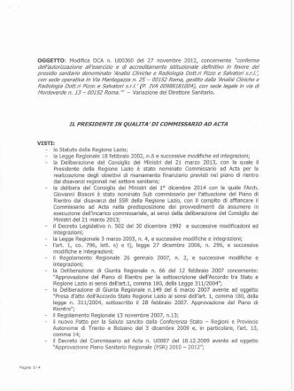Decreto n.U00160 del 11/03/2015