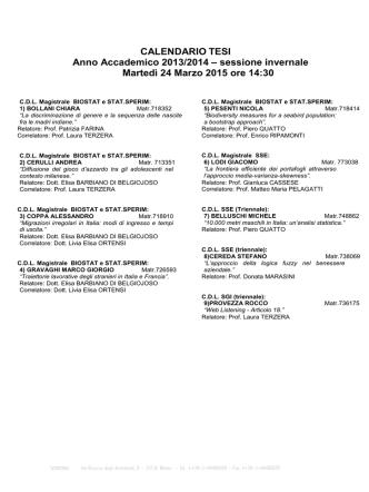 24 Marzo ore 14.30 - Corso di Laurea Triennale in SGI