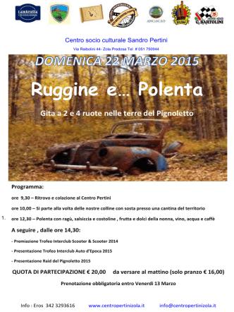 22 marzo - Zola Predosa (BO). Ruggine e... Polenta