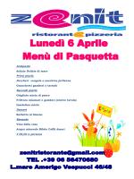 Menu Pasquetta - Ristorante Zenit Ostia