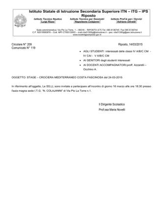CIRCOLARE n° 209_14-15-CROCIERA MEDITERRANEO COSTA