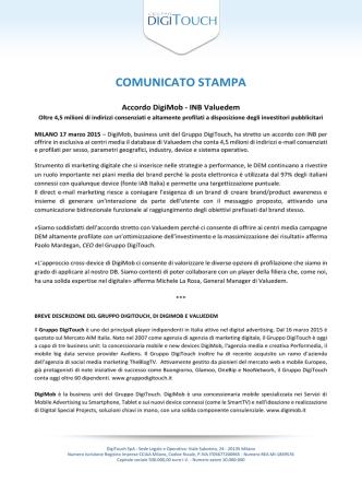 Comunicati 17/03/2015 Accordo DigiMob - INB Valuedem