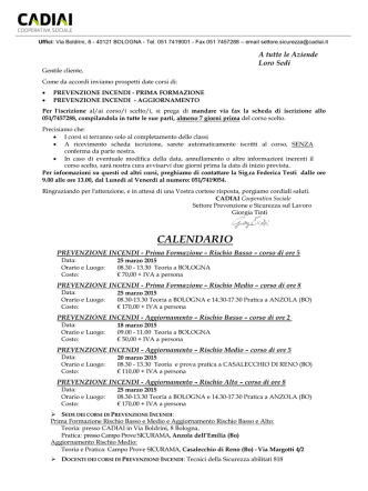Calendario e informativa Corsi Antincendio marzo 2015