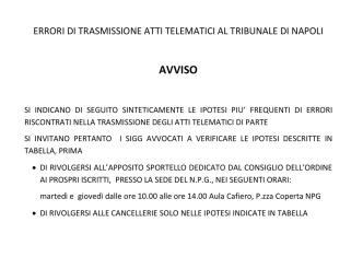 AVVISO - Tribunale di Napoli