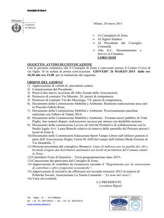 Consiglio 26 marzo 2015 ore 18.30 -21