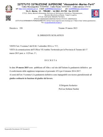 19/03/2015-DECRETO PUBBLICAZIONE GRADUATORIE