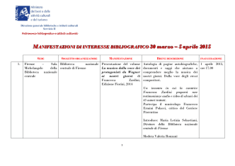 30 marzo – 5 aprile 2015 - Direzione Generale per i Beni Librari e