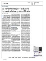 La cura Obama per l`industria ha molto da insegnare all`Italia