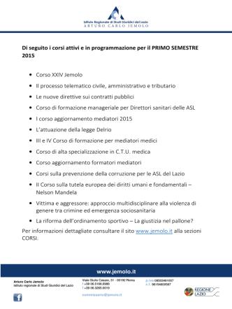 Corsi primo semestre 2015 - Consiglio Regionale del Lazio
