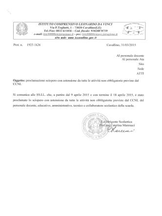 Circolare n. prot. 1925/A26 - Istituto Comprensivo Cavallino