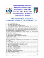 Comunicato ufficiale N.38