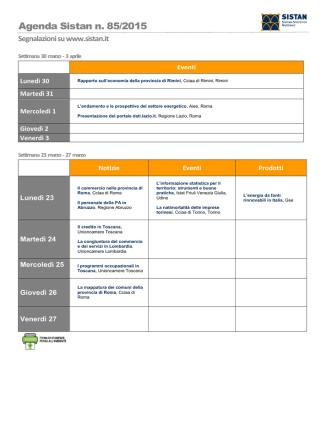Agenda Sistan n. 85/2015