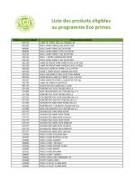 Liste des produits éligibles au programme Eco primes