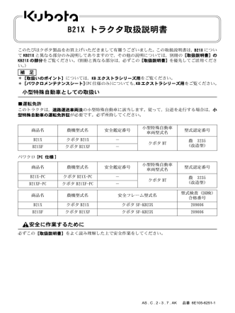 B21X トラクタ取扱説明書