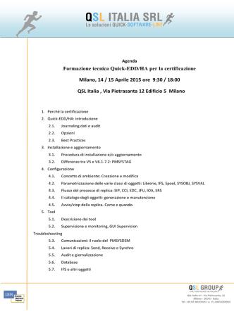 Corso di certificazione Quick EDD/HA 14-15 Aprile