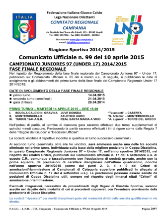 cu99 2014-2015 - Comitato Regionale Campania