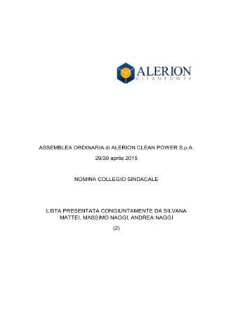 ASSEMBLEA ORDINARIA di ALERION CLEAN POWER SpA 29/30