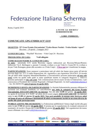 Comunicato GPG-14 n° 12 AGG.AL 13/04/2015