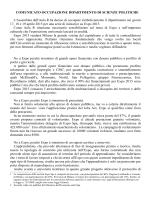 COMUNICATO OCCUPAZIONE DIPARTIMENTO DI