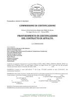 COMMISSIONE DI CERTIFICAZIONE PROVVEDIMENTO DI