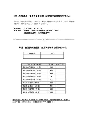 2015 年度華道・書道授業登録票(短期大学部専攻科学生のみ) 華道