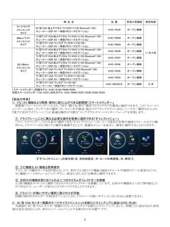 2 【製品の特長】 1) ナビ/AV 機能をより簡単・便利に使うことができる新