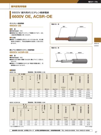 6600V 屋外用ポリエチレン絶縁電線 6600V OE(PDF 1368KB)