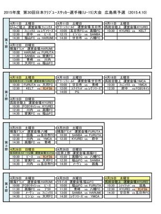 2015年度 第30回日本クラブユースサッカー選手権(U-15)大会 広島県