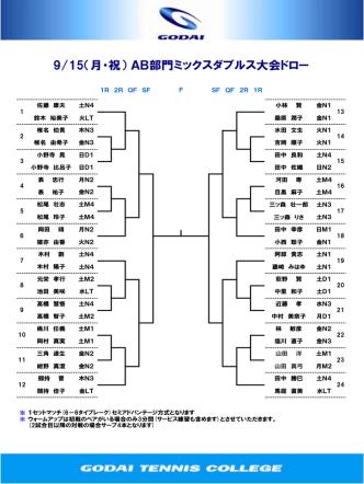 9/15(月・祝) AB部門ミックスダブルス大会ドロー
