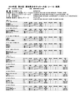 2014年度 第23回 愛知県少女サッカー大会 U-12 結果