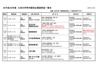 2016.3卒業・修了学生向け学内個別企業説明会一覧;pdf