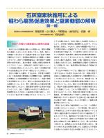 石灰窒素秋施用による稲わら腐熟促進効果と窒素動態の解明(第一報)