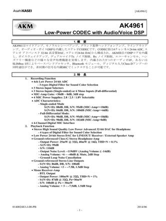 AK4961 Japanese Datasheet - Brief