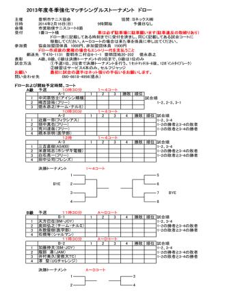 2013年度冬季強化マッチシングルストーナメント ドロー