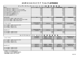 2014年 W I N B I R D ク ラ ブ アッセンブル参考価格表
