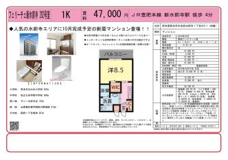 47,000 1K フェリーチェ新水前寺202号室