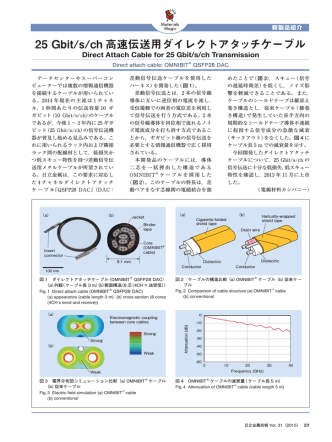 25 Gbit/s/ch 高速伝送用ダイレクトアタッチケーブル (PDF: )