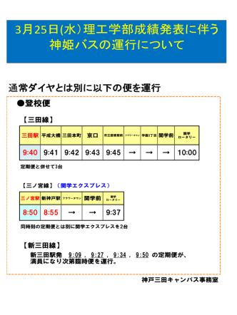 3月25日(水)理工学部成績発表に伴う 神姫バスの運行について