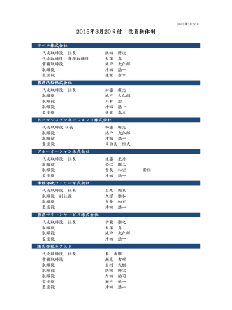 2015年3月20日付 2015年3月20日付 役員新体制