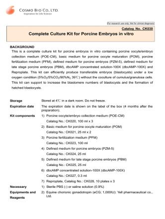 Complete Culture Kit for Porcine Embryos in vitro